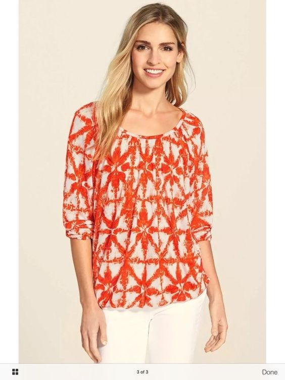 Michael Kors Orange & White Patterened Peasant Top Size Small Very Soft | eBay