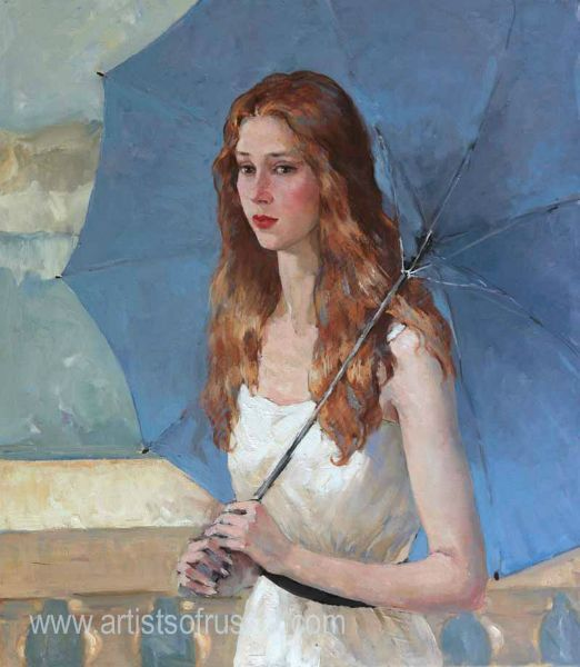 Girl With Blue Umbrella by Katya Gridneva
