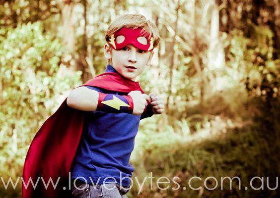 Super Hero Mask Set - Cape, Mask and Arm Bands. $55.00, via Etsy.