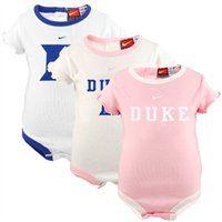 Nike Duke Blue Devils Infant Girls Pink-White 3-Pack Creeper Set