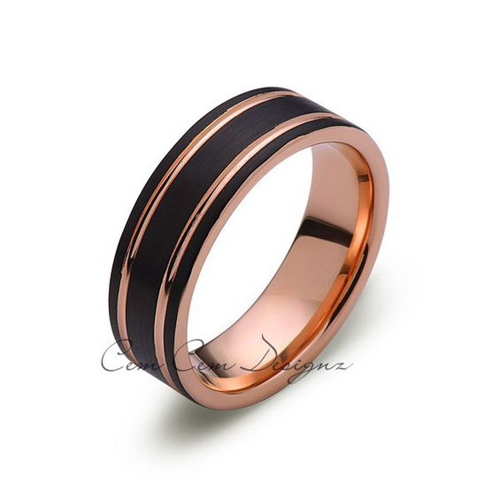 8mm,Unique,Brushed, Black Brushed,Rose Gold Groove,Tungsten Ring,Wedding Band