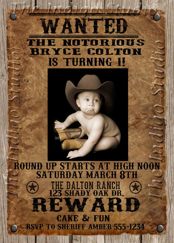 Cowboy Wanted Poster Birthday Party Photo Invitation