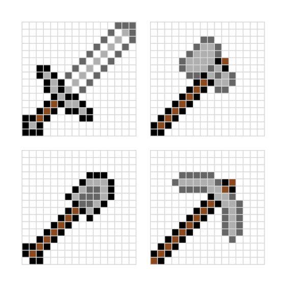 Minecraft designs for HAMA beads // printable PDF