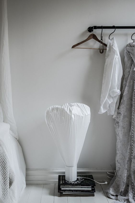 moustache vapeur table lamp in perfectly styled monochrome home, via http://www.scandinavianlovesong.com/