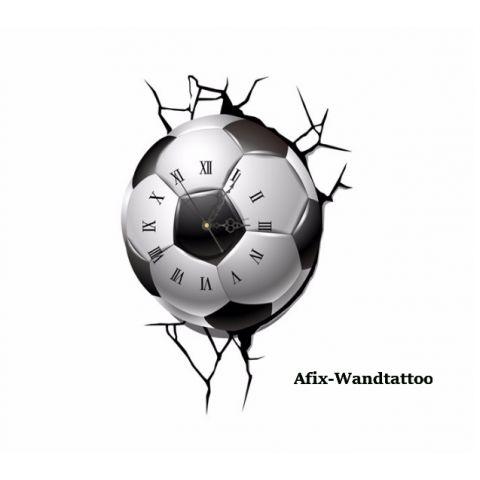 3D Wandtattoo Fußball mit Uhr Wanduhr