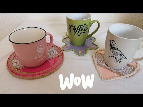 إعادة تدوير أغطية العلب إلى كوستر Diy Youtube Creative Crafts Tea Tea Cups