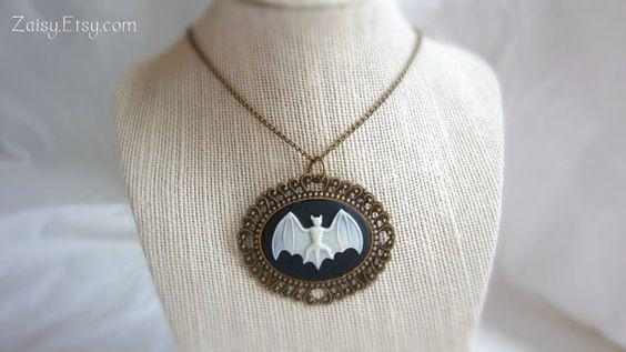 Bat Necklace Short Length Cameo Jewelry by Zaisy on Etsy