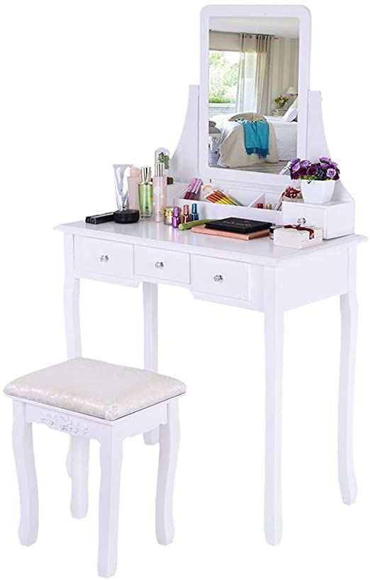 Vanity Benches Dressing Table With Cushioned Bench Makeup Table With Tri Folding Mirror And 5 Dra Dressing Table Vanity Vanity Table Set Dressing Table Mirror Vanity table with mirror and bench