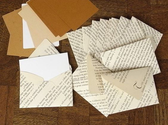 Vintage recycled book envelope set recycelte b cher g steb cher und alte buchseiten - Diy uses for old books ...