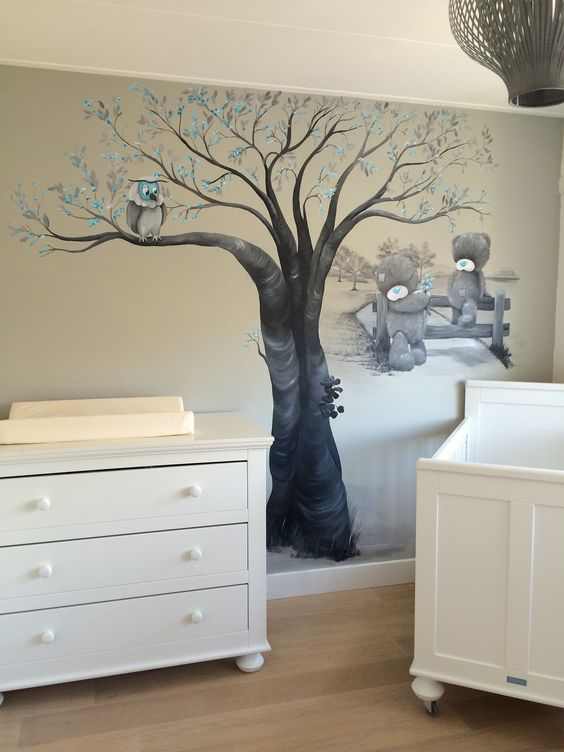 decoratie babykamer bos: muurschilderingen kinderkamer, babykamer, Deco ideeën