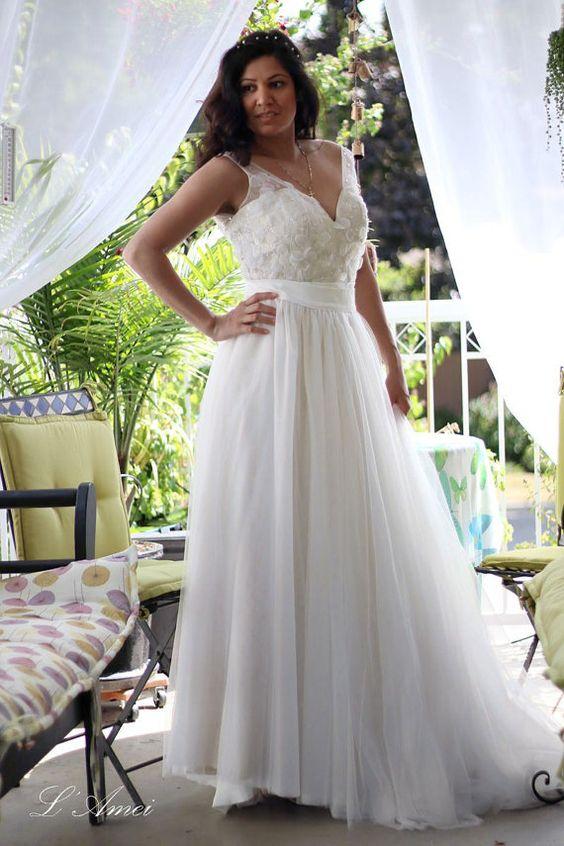 Sexy tiefes V zweiteilige Hochzeit Kleid perfekt für von LAmei