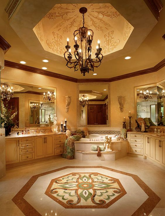 Luxury master bathroom with custom tile work tray for Custom master bathroom designs