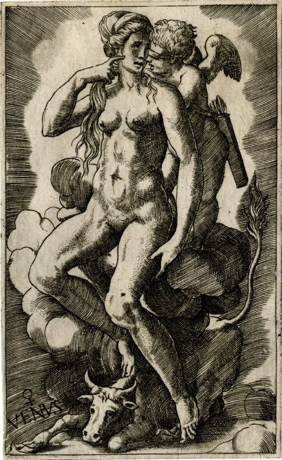 Venus sitting on a cloud with blindfolded Cupid; at her feet, a bull representing the zodiacal sign of Taurus  Engraving