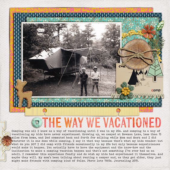 The Way We Vacationed by Debbie Hodge | Supplies: Chloe by Lynne-Marie; Worn Photo Edges 7 by Lynn Grieveson; Trailblazer by One Little Bird; Summer Camp by Sahlin Studio; Merry by Amy Wolff; Labeled Journalers by Katie Pertiet; Woodland Wonder by Jenn Barrette; Darling Dear by Creashens; Kiln, Bohemian Typewriter fonts
