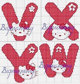♥Meus Gráficos De Ponto Cruz♥: Hello Kitty Alfabetos em Ponto Cruz 2