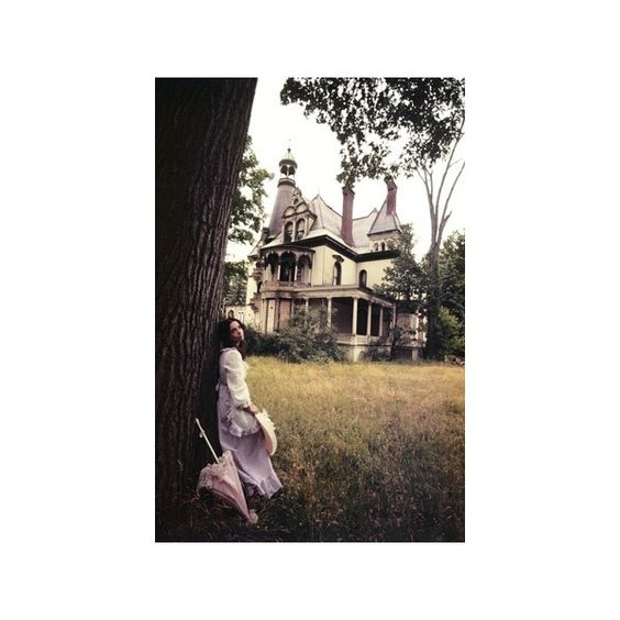 1960s-1970s Woman Standing Beside Tree Front of Abandoned Haunted... (£31) ❤ liked on Polyvore featuring home, home decor, wall art, photography wall art, photographic wall art, tree poster, tree wall art and tree home decor