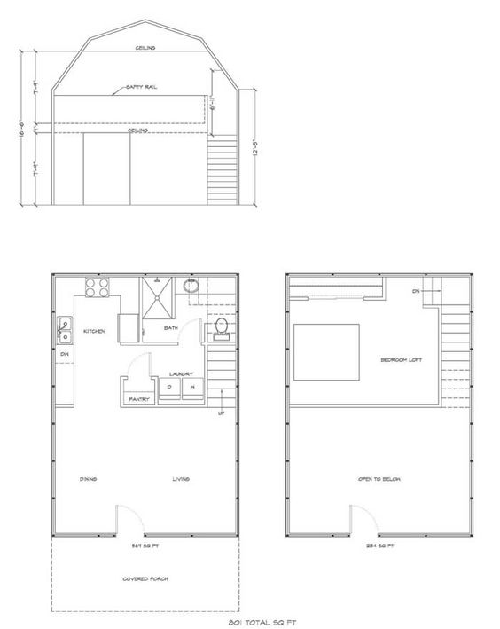 Deluxe Lofted Barn Cabin Floor Plan Gambrel House Kit: barn guest house plans