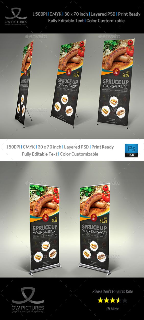 Sausage Restaurant Roll-Up Template PSD. Download here: http://graphicriver.net/item/sausage-restaurant-signage-template/15611880?ref=ksioks