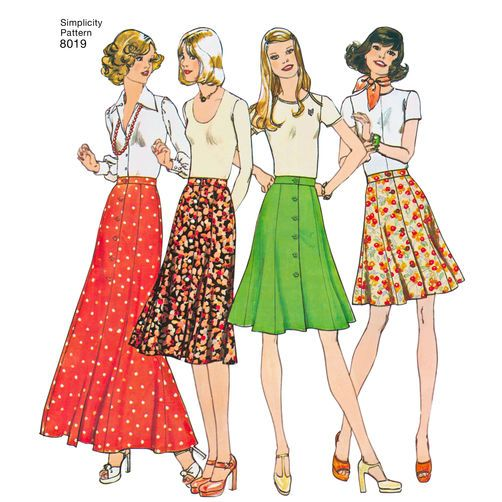 Simplicity Pattern 8019 Misses' Vintage 1970s Skirts