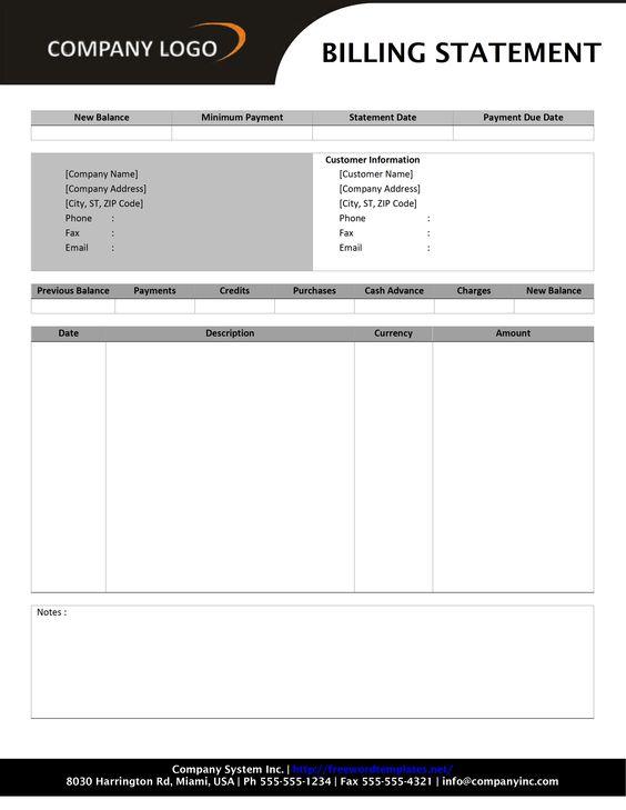 sample billing statement - Google Search business form samples - billing statement template