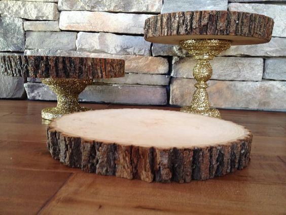 My gorgeous gold glitter wedding cake stands!  Rustic Chic Wedding Cake Stand / Gold Glitter with Wood Slab / Set of 3 Tiers
