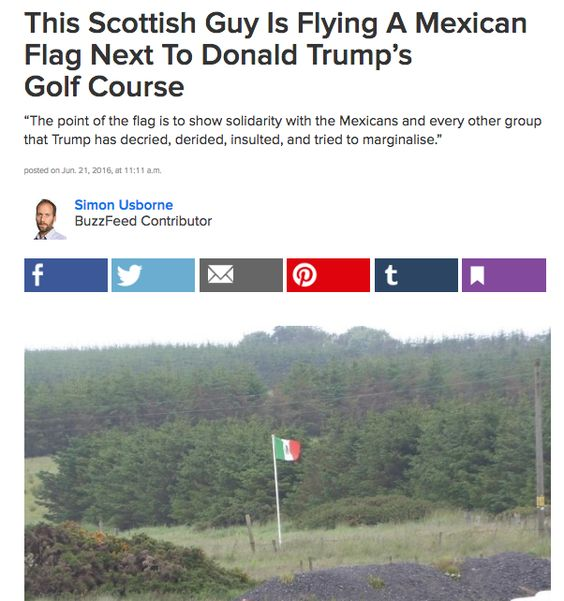 Locals also hoisted a familiar flag to help him feel at home. | 11 Ways Donald Trump Was Warmly Welcomed To Scotland This Weekend