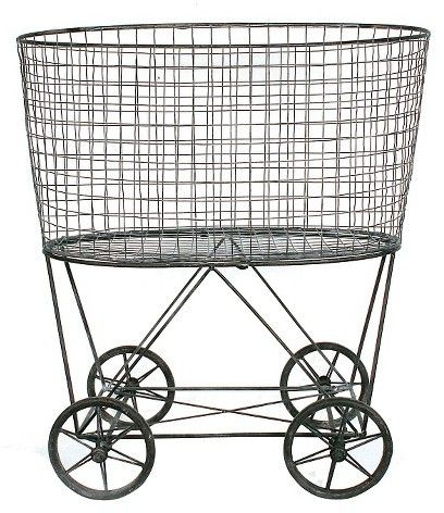 Vintage laundry laundry baskets and wheels on pinterest for Laundry room baskets with wheels