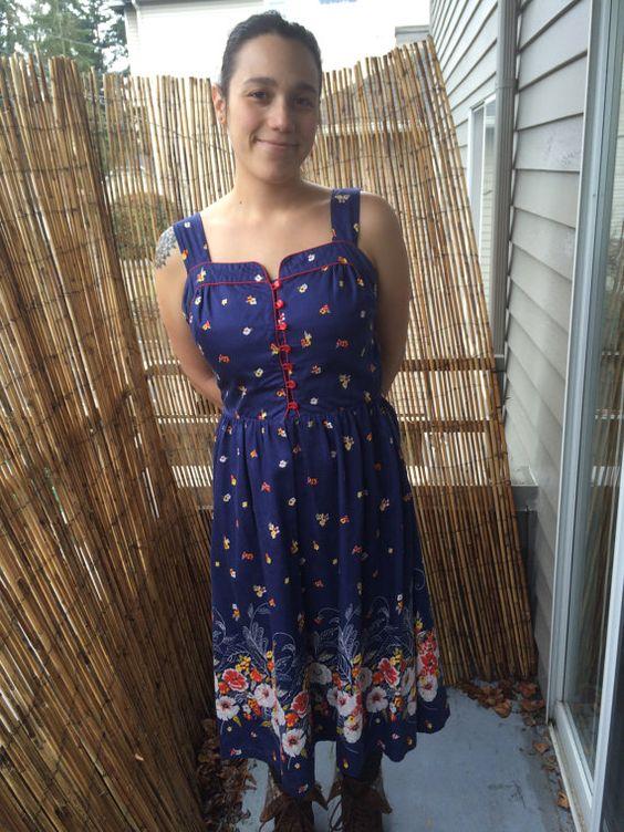 Vintage Navy Blue Border Print Sun Dress by YarncoreVintage