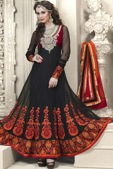Express Sale..!! Black Faux Georgette and Net Salwar kameez Rs