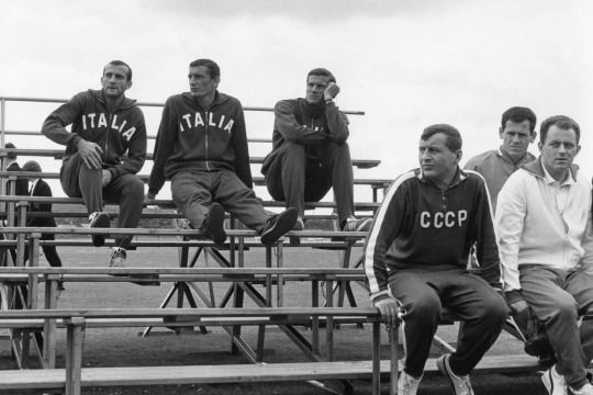 Lodetti, Riva and Facchetti, watching the USSR train at World Cup 1966