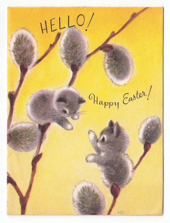 Vintage Greeting Card Easter Cute Kittens Cat Pussy Willow Rust Craft: