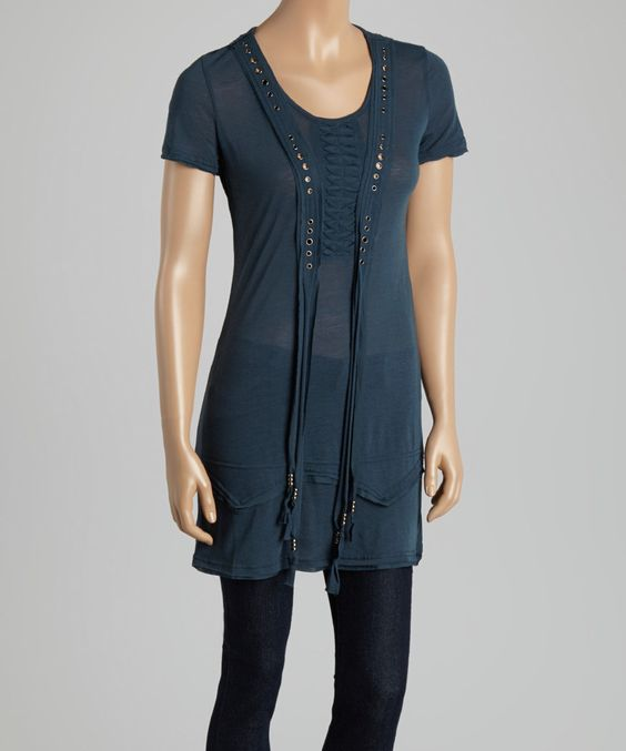Another great find on #zulily! MONORENO by Mür Blue Grommet Scoop Neck Top by MONORENO by Mür #zulilyfinds