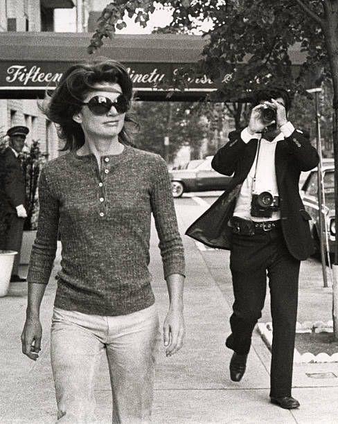 Jackie Kennedy Onassis and Ron Galella