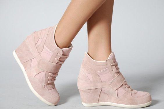 Pastel Pink Wedge Sneaker