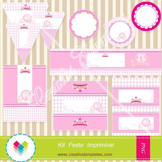 Kit Imprimível Carruagem de Princesa  Princess Hole Printable Party