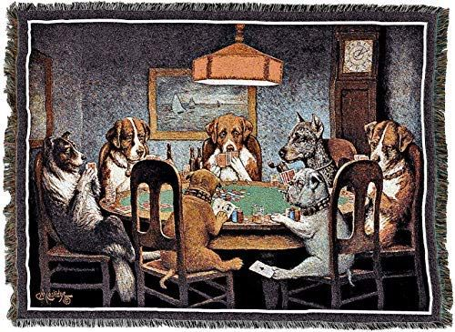 Pure Country Weavers Dogs Playing Poker Woven Tapestry Throw