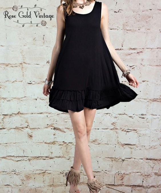 Black roses tunic dress