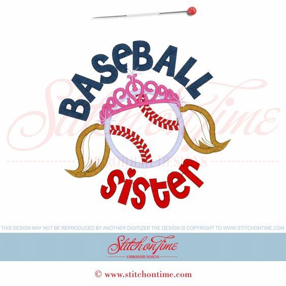 169 Baseball : Baseball Sister Applique 6x10