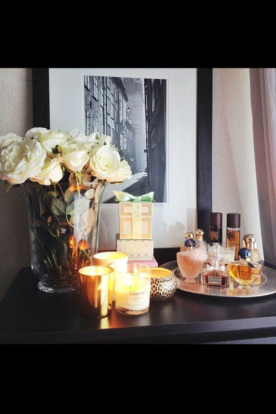 Dresser Decor Love The Florals Candle Assortment And Tray With Perfumes Could Add Lotions