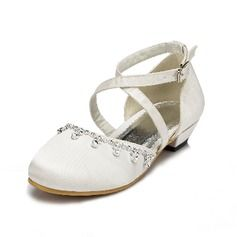 Kids' Silk Like Satin Flat Heel Closed Toe Flats With Buckle