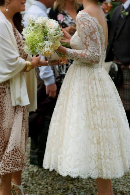 Lace tea length dress with sleeves. <3 Dream dress!