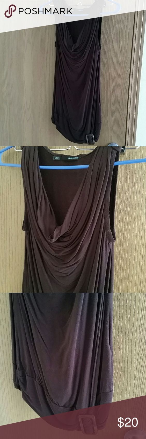 Sale! Brown cowl neck dressy top Top has a cowl neck and buckle on the bottom. Never worn. Offers welcome. Maurices Tops