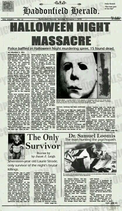 Haddonfield Hearld. Halloween Night Massacre.