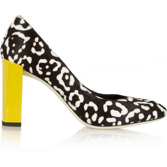 Fendi Leopard-print calf hair pumps ($375) ❤ liked on Polyvore featuring shoes, pumps, black, leopard print shoes, high heel shoes, leopard slip on shoes, fendi shoes and leopard shoes