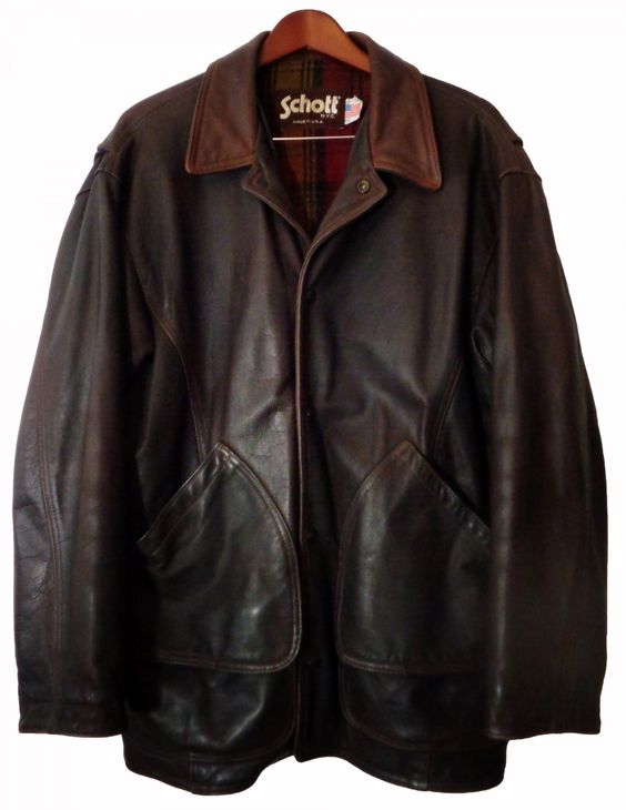 SCHOTT NYC. BROWN LEATHER CAR COAT FLAP POCKETS MEN'S SIZE 42