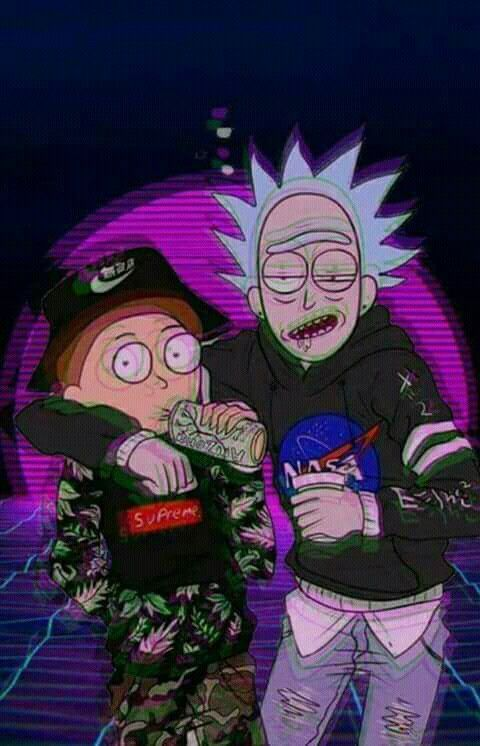 Rick Morty With Vporwave Style And Trippy With Purple Drink