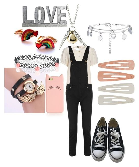 """""""Untitled #15"""" by kawaiirasberrytea ❤ liked on Polyvore featuring Boutique by Jaeger, Maje, New Look, Converse, Privilege, Forever 21, Kate Spade and Accessorize"""