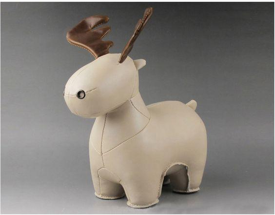 Wonder Zoo | Handmade Cute Animal Leather Stuffed Reindeer Home Decora | Feltify