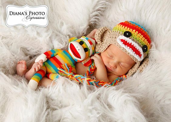 Rainbow sock monkey hat & matching doll! Made by Karly's Kloset.