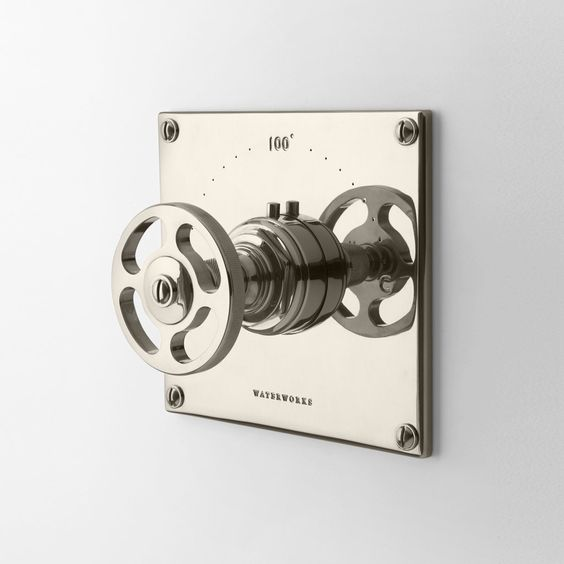 Thermostatic Control Valve Trim with Metal Wheel Handles; Waterworks